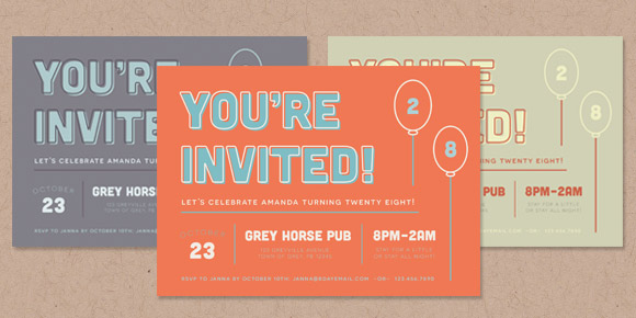 retro type invitation tutorial