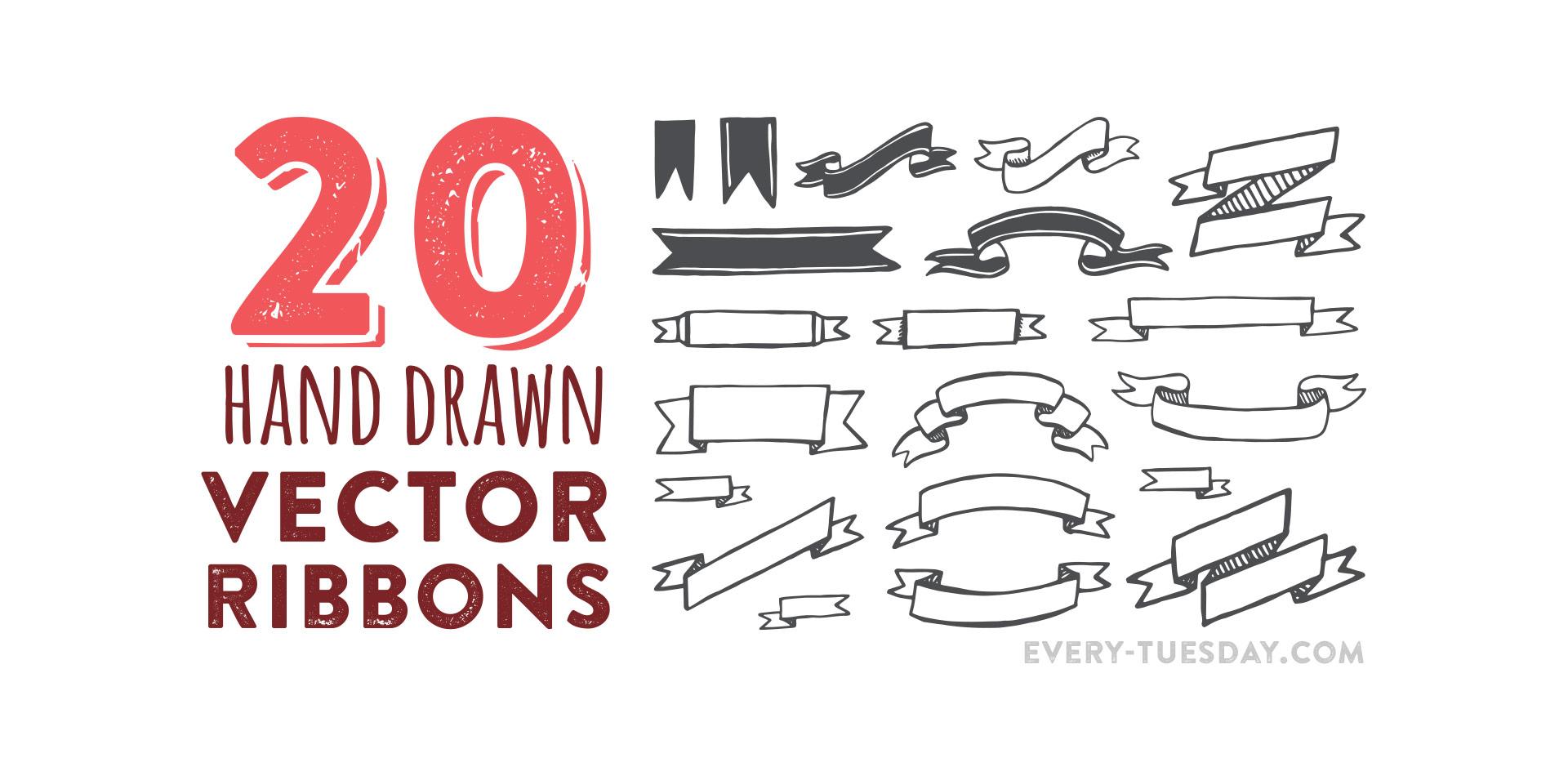 free hand drawn vector ribbons