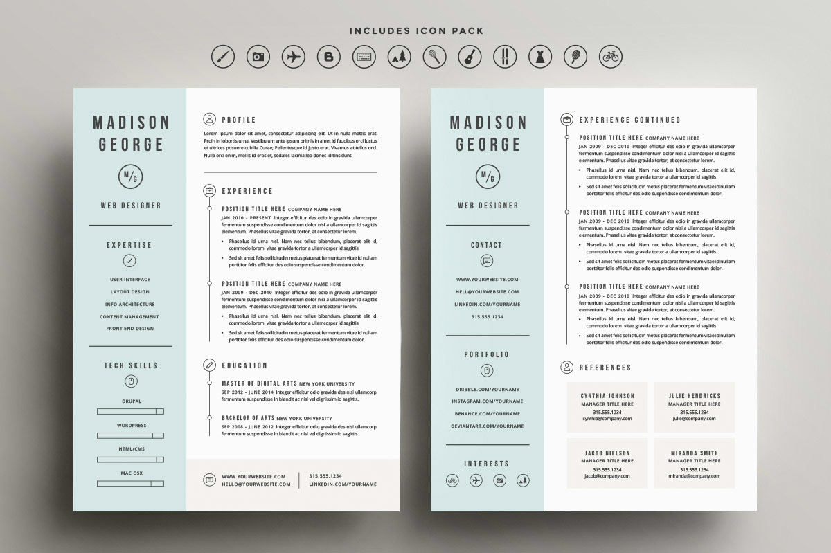 Roundup 5 Clean And Creative Resume Templates