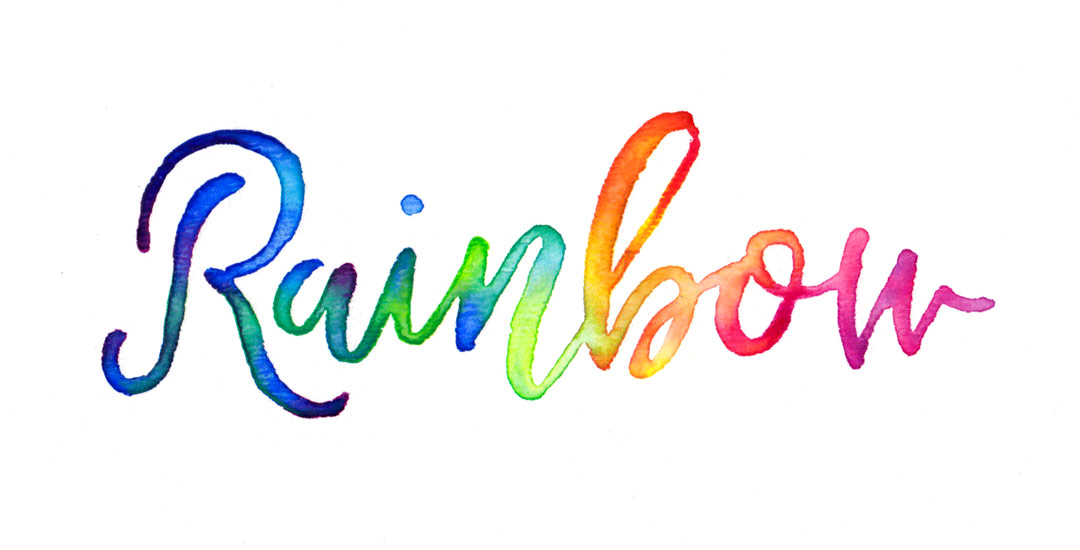 rainbow brush lettering
