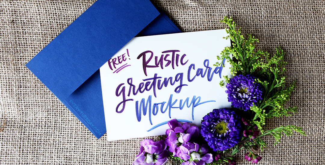 free rustic greeting card mockup