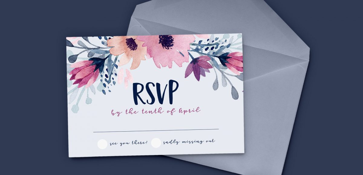 design a watercolor floral RSVP card in Adobe Illustrator