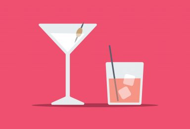 create flat style cocktail glasses in Adobe Illustrator