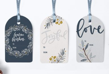 winter watercolor gift tags in adobe illustrator