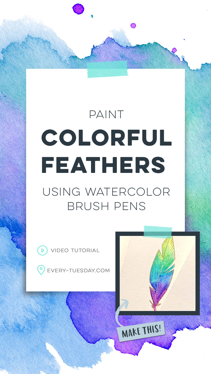 paint colorful feathers using watercolor brush pens