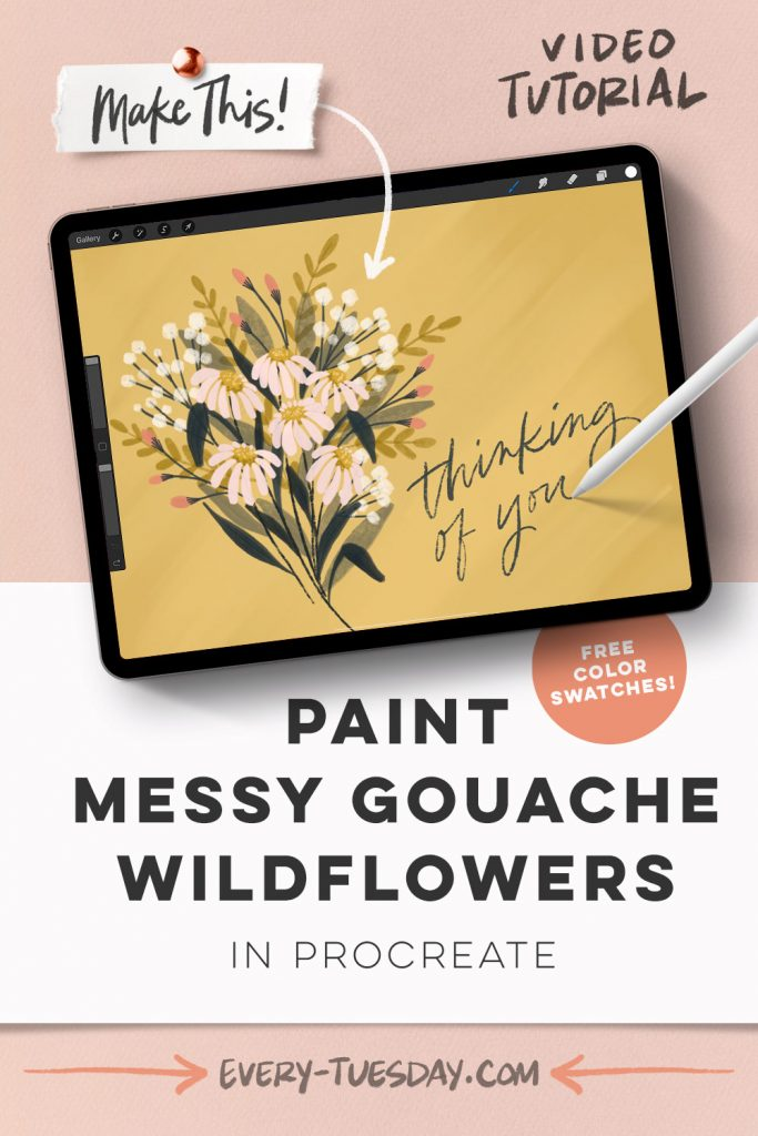 Paint Messy Gouache Wildflowers in Procreate